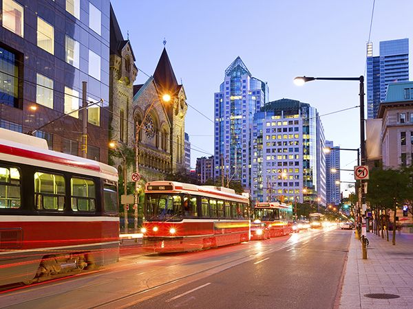King Street with street cars in downtown Toronto.