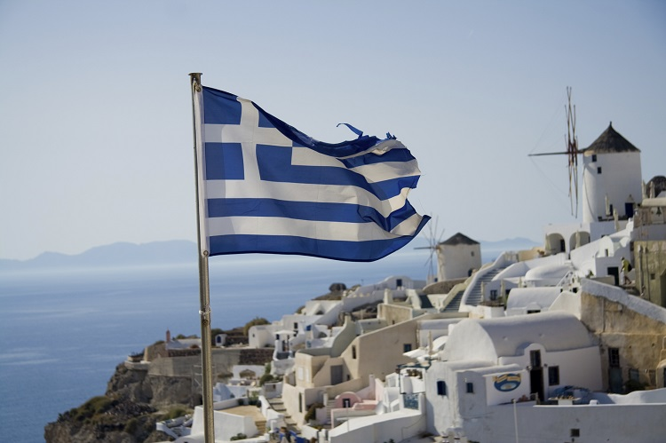 Greek flag with windmill